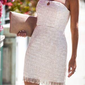 VICI Hidden Treasures strapless tweed mini dress